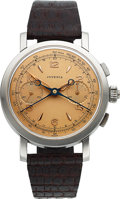 Timepieces:Wristwatch, Juvenia, Very Rare Split-Second Chronograph, 38 mm Stainless Steel, Circa 1940's. ...