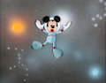Animation Art:Production Cel, Epcot Mickey Mouse Production Cel and Painted Background (WaltDisney, c. 1980s)....