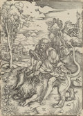 Fine Art - Work on Paper:Print, Albrecht Dürer (German, 1471-1528). Samson fighting with thelion, c. 1496-97, posthumous impression. Woodcut on heavy l...