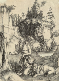 Albrecht Dürer (German, 1471-1528) St. Jerome in penitence, 1496 Engraving on laid paper 12-3/8 x 8-7/8 inches (31...
