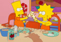 Animation Art:Production Cel, The Simpsons Bart and Lisa Production Cel on Key MasterBackground (Fox, 1991)....