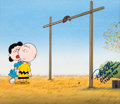 Animation Art:Production Cel, Peanuts - Charlie Brown and Lucy Football-Themed Production Cel onCustom Painted Background (Bill Melendez, c. 1960s-70s)....