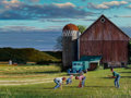 Paintings, Terrence Fogarty (American, 20th Century). Playing Near the Grain Silo. Oil on canvas. 30 x 40 inches (76.2 x 101.6 cm)...