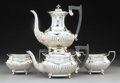 Silver & Vertu:Hollowware, A Four-Piece Viners Ltd. Silver and Hardwood Tea and Coffee Service, Sheffield, England, 1945. Marks: (lion passant), (crown... (Total: 4 Items)