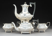 A Four-Piece Viners Ltd. Silver and Hardwood Tea and Coffee Service, Sheffield, England, 1945 Marks: (lion passant