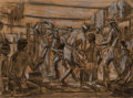 Fine Art - Painting, American, Morton Künstler (American, b. 1931). Midewiwin Ceremony study, 1976. Charcoal on paper. 17-1/2 x 23-1/2 inches (44.5 x 5...