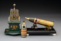 Three Metal Artillery Shell-Form Cigar Cutters, late 19th-early 20th century Marks to horizontal artillery shell-f