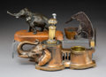 Decorative Arts, Continental, Three Metal Elephant-Form Cigar Cutters, late 19th-early 20thcentury. 7 x 11 x 4-1/2 inches (17.8 x 27.9 x 11.4 cm...