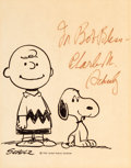 Animation Art:Poster, Peanuts - Charlie Brown and Snoopy Publicity Print Signed byCharles Schulz (United Feature Syndicate, c. 1950s/'60s)....