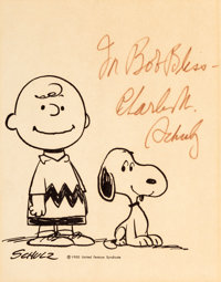Peanuts - Charlie Brown and Snoopy Publicity Print Signed by Charles Schulz (United Feature Syndicate, c. 1950s/'60s)...