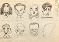 "Animation Art:Production Drawing, ""The Art of T. Hee"" Hollywood Film Stars Caricatures (Disney/WarnerBrothers, c. 1930s)...."