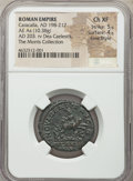 Ancients:Roman Imperial, Ancients: Caracalla, as Augustus (AD 198-217). AE as (25mm, 10.38 gm, 1h). NGC Choice XF 5/5 - 4/5, Fine Style....