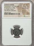 Ancients:Roman Imperial, Ancients: Constantius I, as Caesar (AD 305-306). BI quinarius (15mm, 1.60 gm, 1h). NGC Choice AU 5/5 - 2/5....