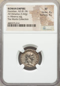 Ancients:Roman Imperial, Ancients: Domitian, as Augustus (AD 81-96). AR denarius (19mm, 3.42 gm, 6h). NGC XF 4/5 - 4/5....