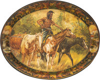 Vintage Tin Lithograph Indian Advertising Tray