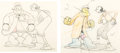 Animation Art:Production Drawing, Dizzy Divers Popeye and Olive Oyl Animation Drawings Display(Max Fleischer, 1935)....