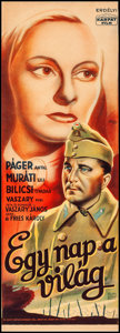 """Movie Posters:Foreign, Egy Nap a Világ & Other Lot (Kárpát Film, 1944). Fine- on Foam Core. Hungarian Posters (2) (11.75"""" X 33 & 11.25"""" X 33.25""""). ... (Total: 2 Items)"""