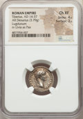 Ancients:Roman Imperial, Ancients: Tiberius (AD 14-37). AR denarius (18mm, 3.79 gm, 7h). NGCChoice XF 4/5 - 3/5....
