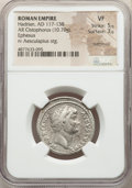 Ancients:Roman Imperial, Ancients: Hadrian (AD 117-138). AR cistophorus (27mm, 10.70 gm,1h). NGC VF 5/5 - 3/5, overstruck....
