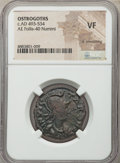 Ancients:Byzantine, Ancients: OSTROGOTHS. Pseudo-Autonomous Issues. Ca. AD 493-534. AE40 nummi or follis (25mm, 11h). NGC VF, lt. smoothing. ...