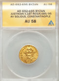 Ancients:Byzantine, Ancients: Justinian II, first reign (AD 685-695). AV solidus (19mm, 7h). ANACS AU 58....