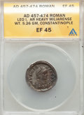 Ancients:Roman Imperial, Ancients: Leo I the Great, Eastern Roman Empire (AD 457-474). AR heavy miliarense (22mm, 5.26 gm, 5h). ANACS EF 45....
