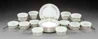 Twelve Gorham Pierced Silver Ramekin Holders with Rogers Silver Underplates, early 20th century Marks: Holders (li