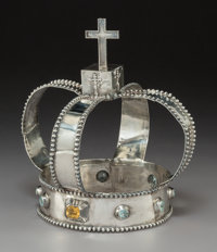 A George Unite Semi-Precious Stone Mounted Silver Cleric's Crown, Birmingham, England, 1858 Marks: (lion passant)
