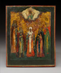 Decorative Arts, Continental, A Russian Tempura and Gesso on Wood Panel Icon: ChristPantocrator and Five Saints, 19th century . 8-7/8 x7-1/8...