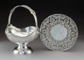 Silver & Vertu:Hollowware, Two American Silver Table Articles, circa 1930. Marks: Basket - S, STERLING, 800; Trivet - (RW cipher), STERLING, 637S... (Total: 2 Items)