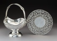 Two American Silver Table Articles, circa 1930 Marks: Basket - S, STERLING, 800; Trivet - (RW cipher)