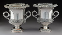 A Pair of English Silver-Plated Wine Coolers, late 19th century 10-1/2 x 11 x 10 inches (26.7 x 27.9 x 25.4 cm)