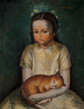 Fine Art - Painting, American, Nathalie Newking (American, 1904-1954). Girl with Cat, circa1930s. Oil on canvas. 28 x 22 inches (71.1 x 55.9 cm). Sign...