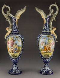 A Pair of Italian Renaissance-Revival Majolica Allegorical Ewers, late 19th century 34-3/4 x 12 x 9 inches (88.3 x