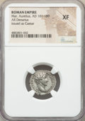 Ancients:Roman Imperial, Ancients: Marcus Aurelius, as Caesar (AD 161-180). AR denarius(17mm, 6h). NGC XF....