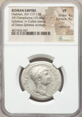 Ancients:Roman Imperial, Ancients: Hadrian (AD 117-138). AR cistophorus (29mm, 10.44 gm,7h). NGC VF 4/5 - 4/5, overstruck....