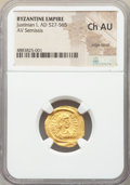 Ancients:Byzantine, Ancients: Justinian I the Great (AD 527-565). AV semissis (18mm,6h). NGC Choice AU, edge bend....