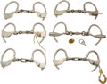 Militaria:Armor, Lot of Six Antique Pair of Handcuffs.... (Total: 6 )