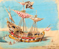 Animation Art:Concept Art, Chicken of the Sea Pirate Ship Restaurant Hand-Colored BrownlinePrint (Walt Disney, 1955)....