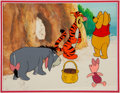 Animation Art:Production Cel, Eeyore Makes a Choice Winnie the Pooh,Tigger, Piglet, andEeyore Production Cel with Key Master Background (Walt D...