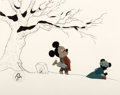 Animation Art:Production Cel, Mickey's Christmas Carol Mickey Mouse as Bob CratchitProduction Cel with Line Test Background Setup (Walt Disney, 198...