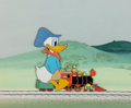 Animation Art:Production Cel, Out of Scale Donald Duck Production Cel and PaintedBackground (Walt Disney, 1951)....