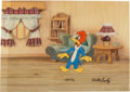 Animation Art:Production Cel, Woody Woodpecker Production Cel and Background (Walter Lantz, c.1950s)....