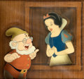 Animation Art:Production Cel, Snow White and the Seven Dwarfs Snow White and Doc Production Cel Courvoisier Setup (Walt Disney, 1937)....