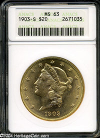 1903-S $20 MS63 ANACS. Very lustrous example with bright yellow-golden color Even abrasions dot the surfaces and a numbe...
