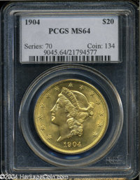 1904 $20 MS64 PCGS. Luscious golden surfaces with ample luster. Scattered small lines dot the surfaces, all with very li...
