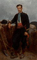 Fine Art - Painting, European:Antique  (Pre 1900), Alphonse de Neuville (French, 1835-1885). Portrait of a MilitaryEngineer (Sargent du Genie), 1871. Oil on board. 21-7/8...
