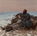 Paintings, Eugene De Barberiis (French, 1851-1937). Battlefield Compassion (Zouave Infantryman Comforting a Wounded Officer), 1894...