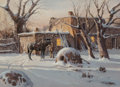 Works on Paper, James Erwin Boren (American, 1921-1990). Winter at the Pueblo, 1981. Watercolor on paper. 20-1/2 x 28-1/2 inches (52.1 x...