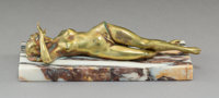 A Continental Brass Erotic Figural Cigar Cutter on Marble Base, late 19th century 2-1/2 x 8-3/4 x 3-1/2 inches (6